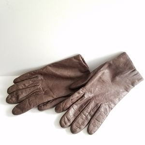 Aris Cashmere Leather Brown Gloves Size 7 1/2